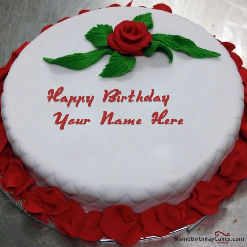 Red Rose Birthday Cake For Lover With Name & Photo