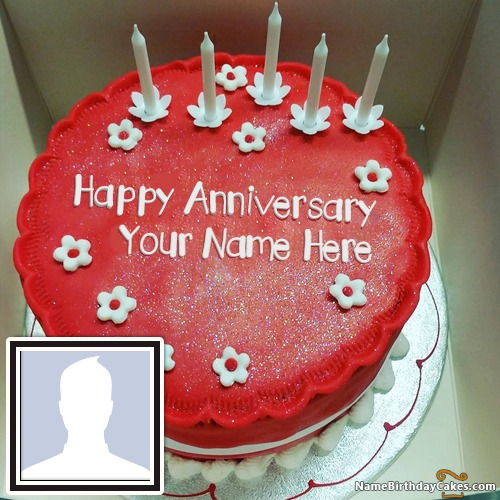 Romantic Happy Anniversary Cake With Name Edit