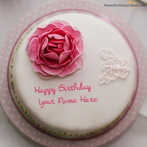 Rose Birthday Cake For Girls With Name & Photo