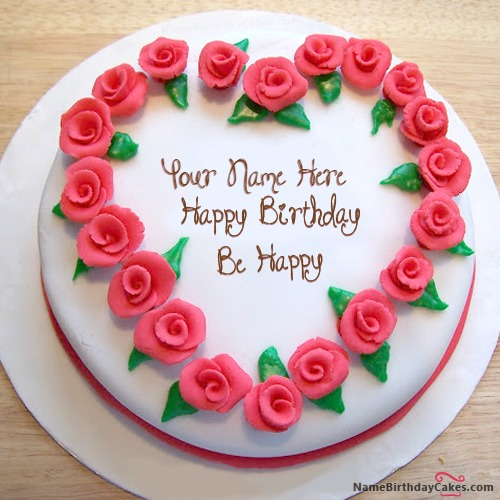 Roses Heart Birthday Cake With Name & Photo