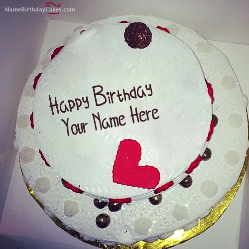 Round Happy Birthday Cake For Lover With Name