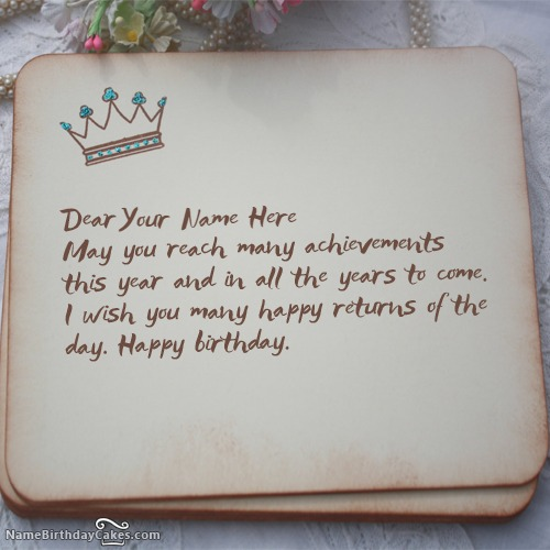 Write Name On Royal Birthday Wish