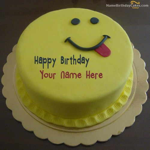 Awesome Silly Smiley Birthday Cake With Name Funny Birthday Cards Online Aeocydamsfinfo