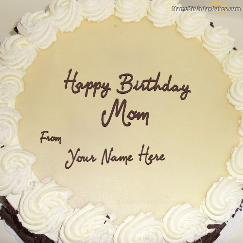 Write Name On Simple Birthday Cake For Mother