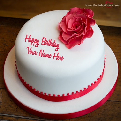 Simple Rose Birthday Cake For Friend With Name & Photo