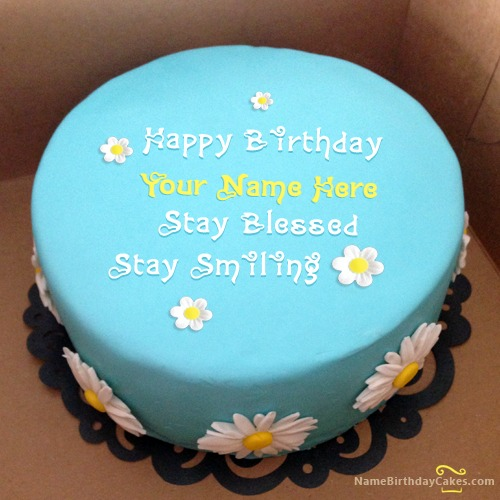 Write Name On Sky Blue Birthday Cake Friends