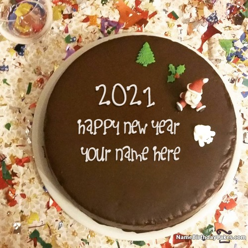 Special Chocolate New Years Day Cake For 2017 Wishes With Name & Photo