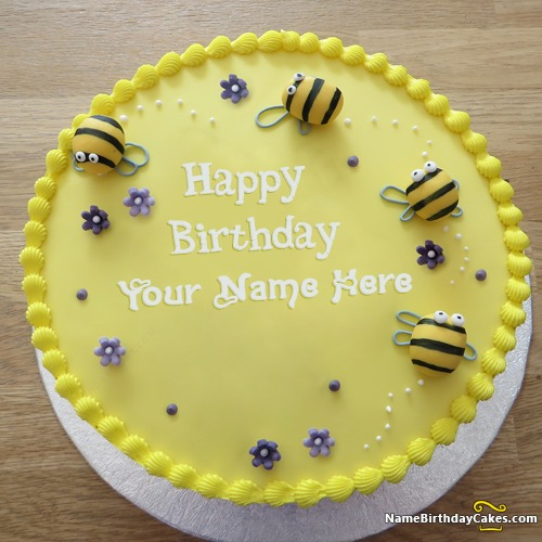 Special Decorated Bumble Bee Cake For Birthday With Name