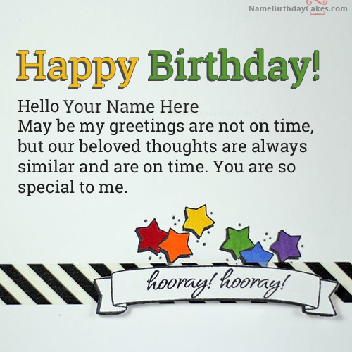 Write Name On Special Happy Belated Birthday Greetings