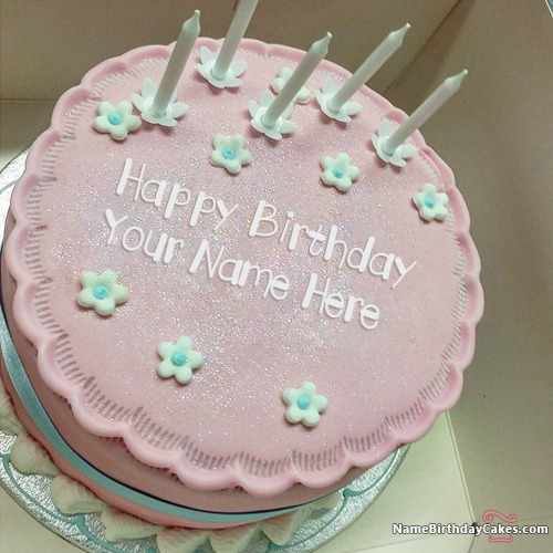 Special Pink Cake Candles For Friend Birthday With Name