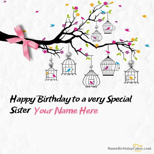 Write Name On Special Sister Birthday Card