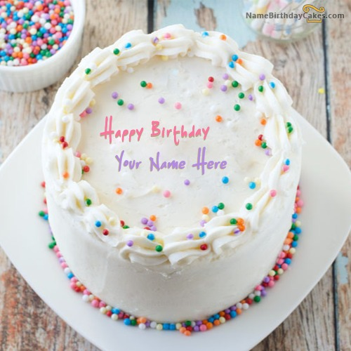 Write Name On Sprinkle Birthday Cake For Friends