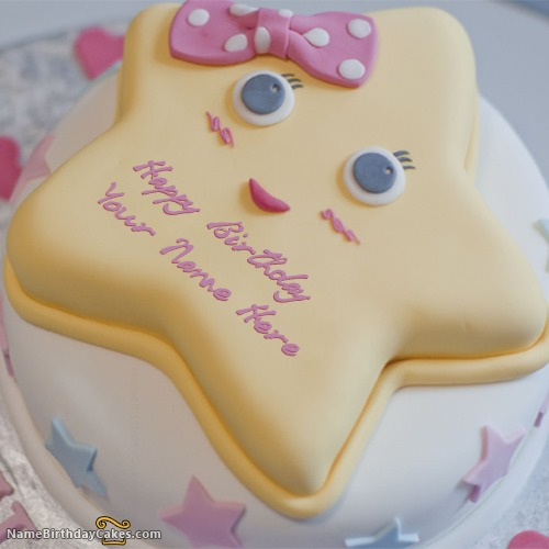 Write Name On Star Birthday Cake For Kids