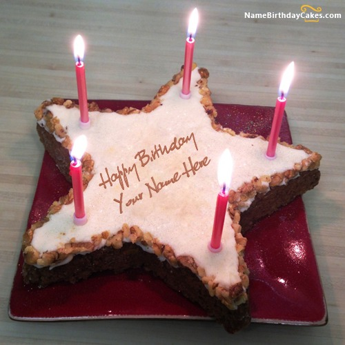 Star Birthday Cake With Name & Photo