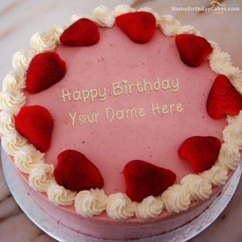 Strawberry Birthday Cake For Sister With Name & Photo