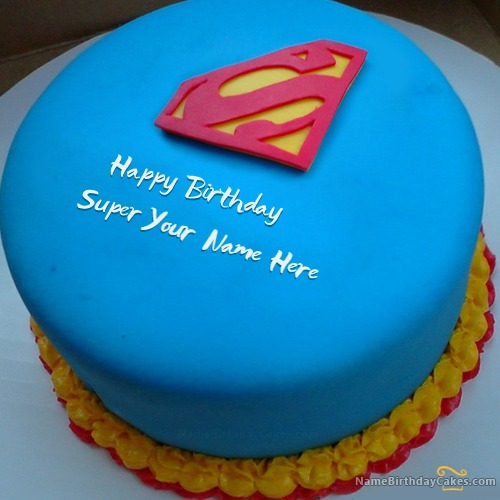 Superman Birthday Cake For Boys With Name & Photo