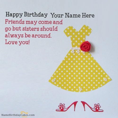 sister birthday card with name, Birthday card