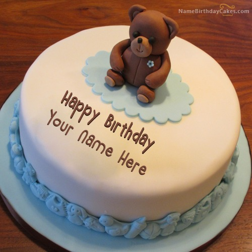 Teddy Bear Birthday Cake With Name