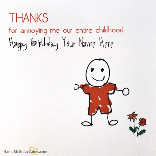 Birthday Card for Brother With Name – Thanks for Birthday Card