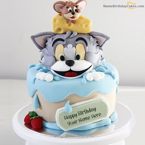 Tom Jerry Birthday Cake For Kids With Name & Photo