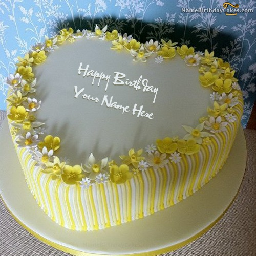 Vanilla Birthday Cake For Lover With Name & Photo