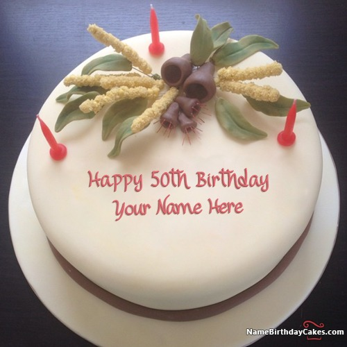 White Chocolate Happy 50th Birthday Cakes With Name & Photo