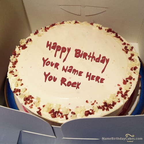 Write Name On White Chocolate Stars Birthday Cake