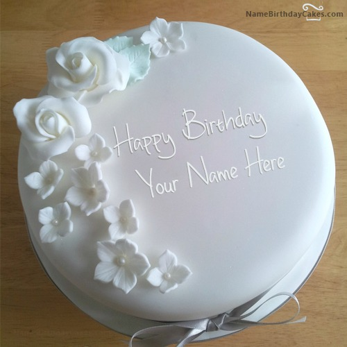 White Roses Birthday Cake For Lover With Name & Photo