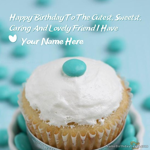 Write Name On Yummy Cupcake Birthday Wish